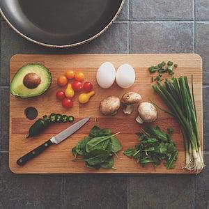 アボカド, セロリ, まな板, 料理, 卵, 食品, フライパン