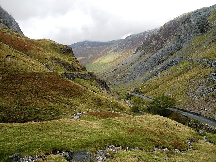 carretera, muntanya, passar, desert, natura, paisatge