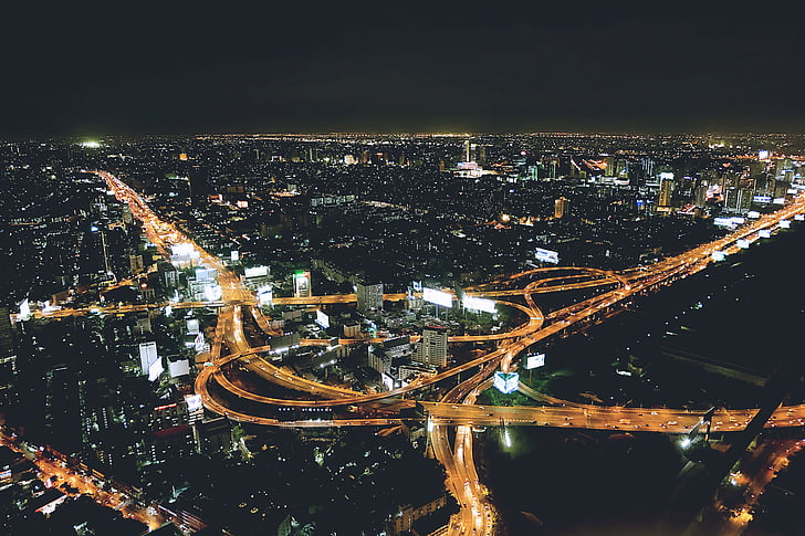 night city, aerial view, night, city, aerial, cityscape, interstate
