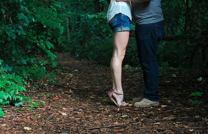 cames, puntetes, abraçada, noia, peu, prim, atractiu