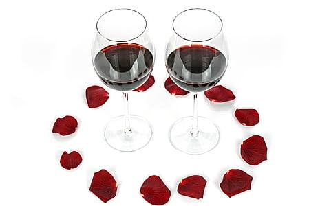 dos gots, regal, llum, Rosa, vi, vidre, l'alcohol