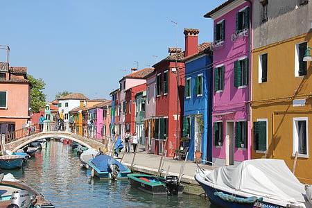 เรือ, ช่องทางน้ำ, บ้าน, มีสีสัน, burano