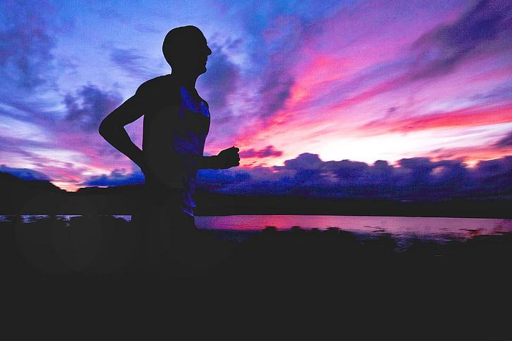 skrējējs, siluets, sportists, fitnesa, vīrietis, veselīgi, saulriets