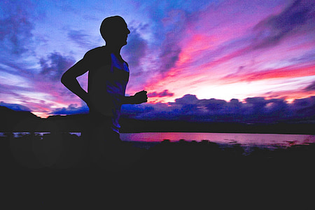 runner, silhouette, athlete, fitness, man, healthy, sunset