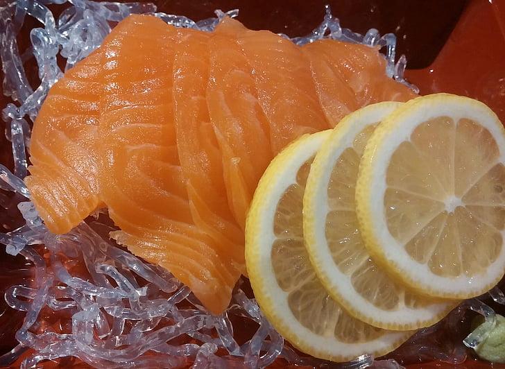 salmó, llimona, cuina, peix, dinar, sopar, japonès