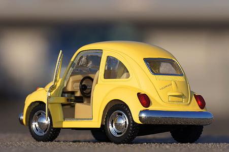 Zabawka, samochód, miniaturowe, żółty, Volkswagen, błąd, pojazdów lądowych