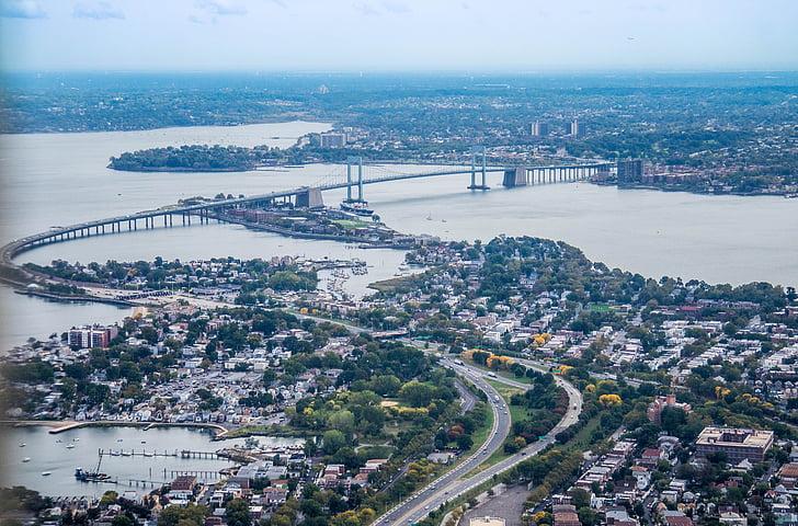 Νέα Υόρκη, γέφυρα, Εναέρια άποψη, στον ορίζοντα, πόλη, αστική, αστικό τοπίο