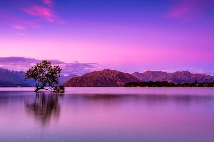 Nova Zelândia, céu, nuvens, montanhas, nevoeiro, nascer do sol, pôr do sol