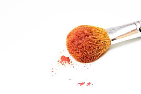 trucco, spazzola, arancio, isolato, bellezza, donna, cosmetici
