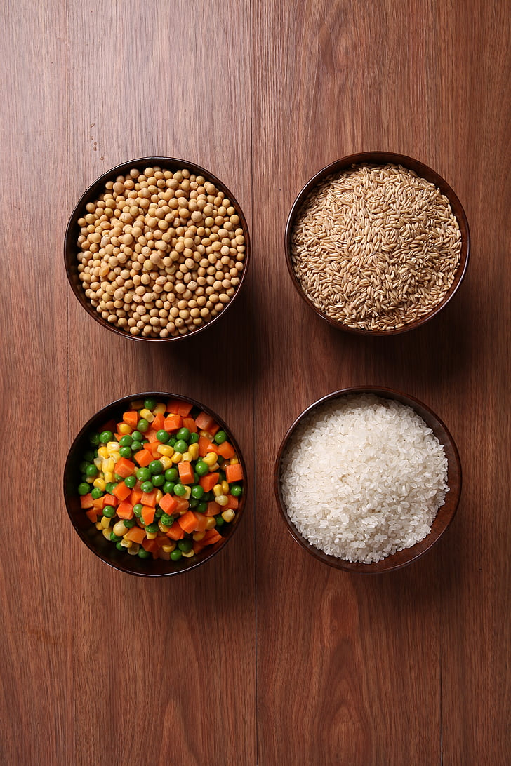 whole grains, catering ingredients, meter, oats, soybeans, food, wood - Material