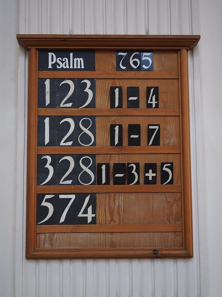 laulud paneel, Juhatus, Psalm paneel, kirik, maksta, arv pardal, märk