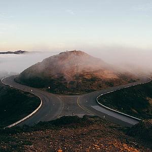 yol forking, bölünmüş yol, seyahat, İkiz Tepeler, san francisco, Körfez bölgesi, Kaliforniya