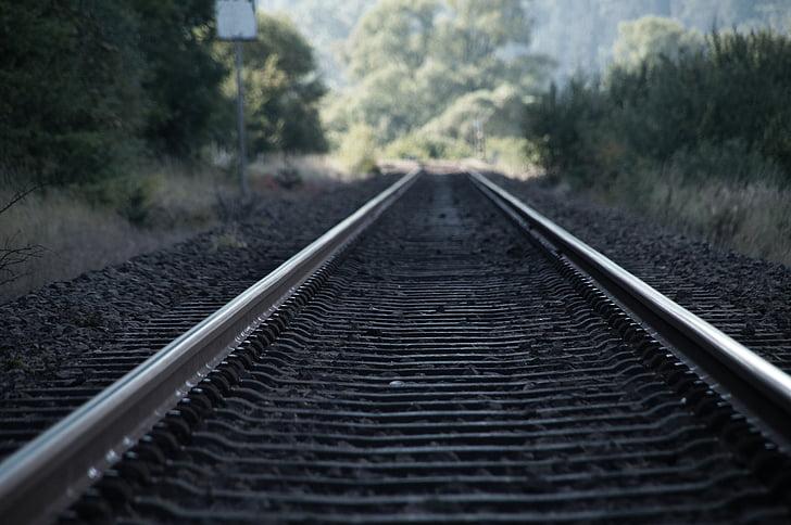pista, semblava, tren, carrils de pista, ferrocarril, trànsit, carrils del ferrocarril