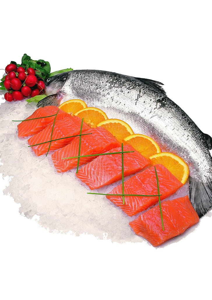 jūra, zivis, uz ledus, lasis, neapstrādāta, pārtika, gaļa