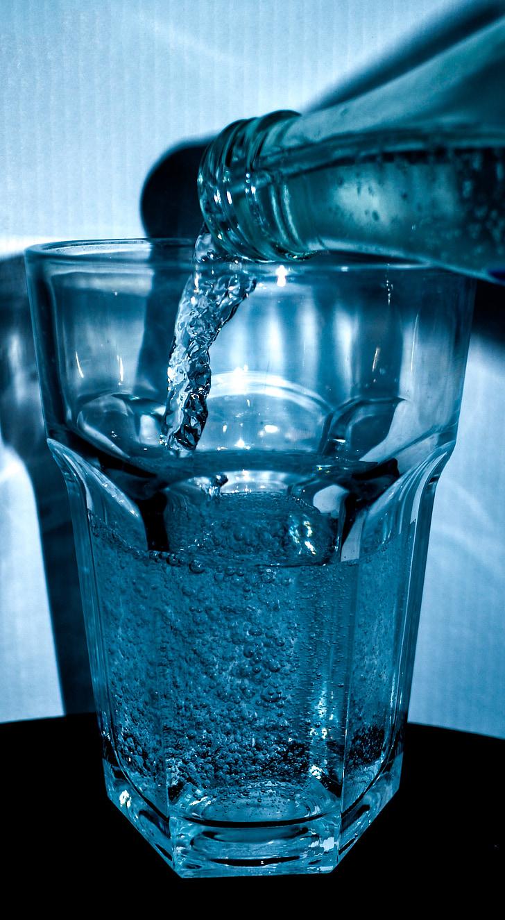 vode, boca, staklo, piće, mineralna voda, Ugljična kiselina, plava