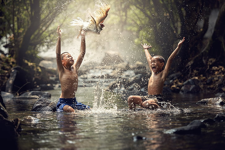 deti, rieka, vtáky, radosť, Splash, vody, chlapec