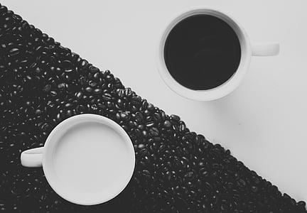 grans de cafè, llet, crema, Copa, tassa, blanc i negre, beguda