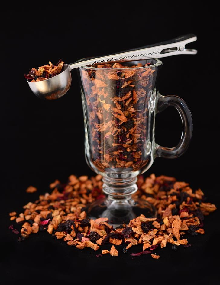 té de frutas, vidrio, t, cuchara de, frutos secos, aromático, taza