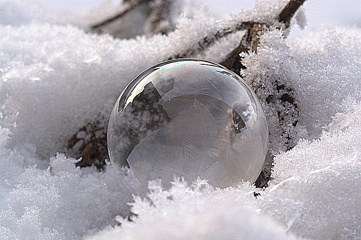 soap bubble, frozen bubble, frozen, wintry, cold, snow, ball