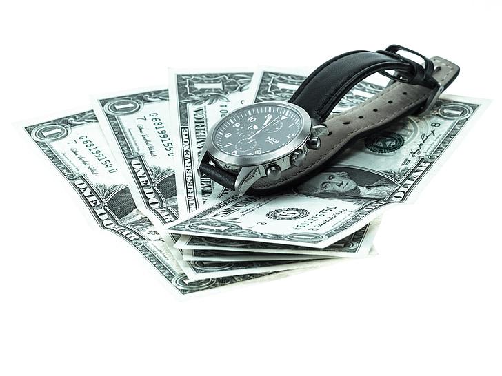 rellotge de canell, diners, rellotge analògic, Mens, Bitllet de Banc, dòlar, nosaltres-dòlar