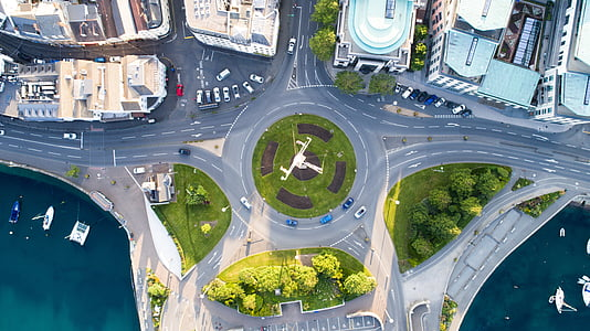 aerial, view, green, trees, plant, car, parking