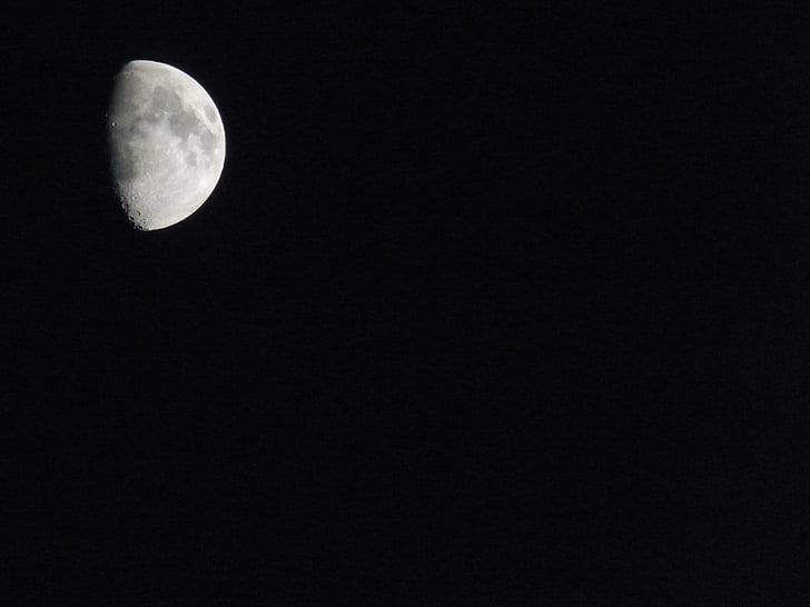 Lune, ciel noir, nuit, arrière-plan, cratère, fond noir