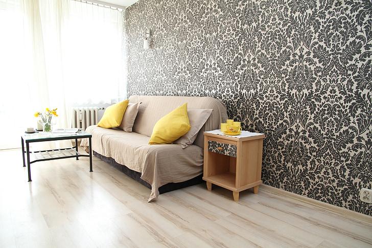 Apartament, sala, casa, interior residencial, disseny d'interiors, decoració, Apartament confortable