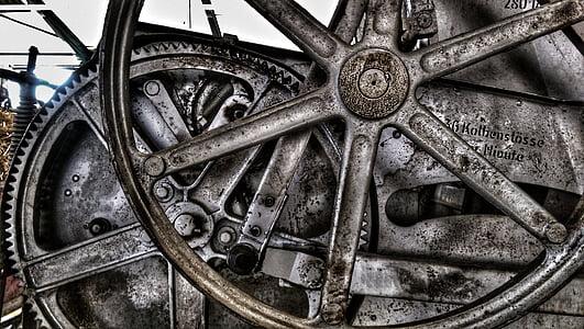 in acciaio, ingranaggi, vecchia macchina, tecnologia, trasmissione, macchina, Gear