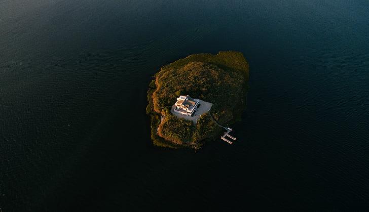 เกาะ, อาคาร, ทางอากาศ, ดู, ทะเล, โอเชี่ยน, น้ำ