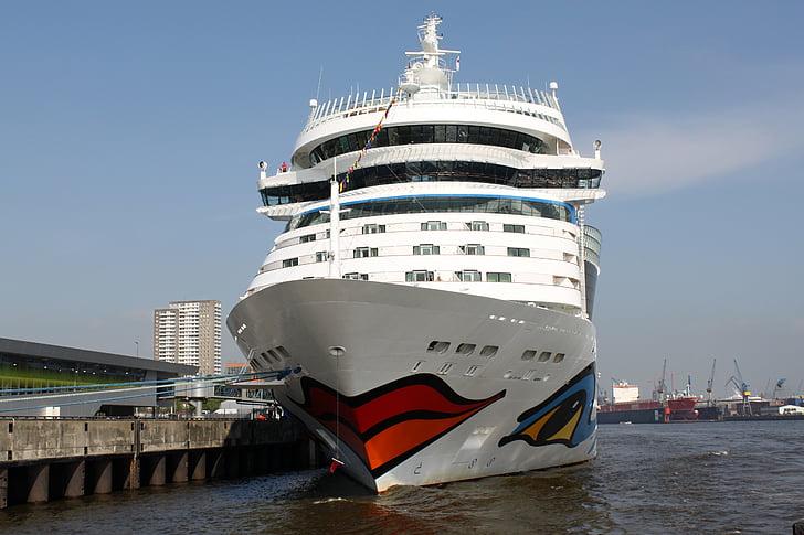 Aida, fartyg, drivande kryssningsfartyg, havet, Holiday, vatten, Hamburg
