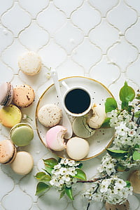 brunch, macaroons, tea, biscuits, afternoon tea, sweets, french