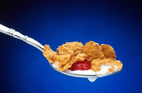 cereals, cullerada, maduixa, Cullera, aliments, esmorzar, llet