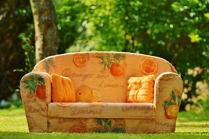 sofa, Bank, natuur, weide, rest, relaxen, zon