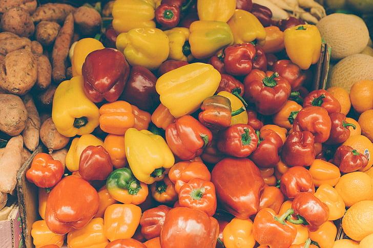 hrana, povrće, paprike, rajčice, povrća, žuta, svježinu