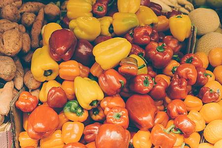 toidu, köögiviljad, paprika, tomatid, taimne, kollane, värskuse