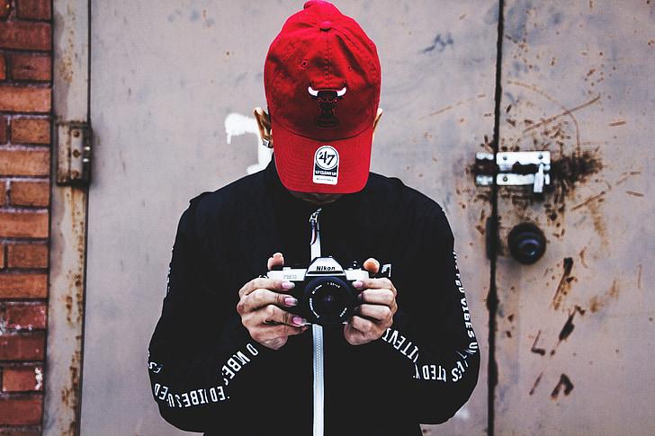 person, Nikon-kameraet, holde, fotografi, fotograf, folk, unge