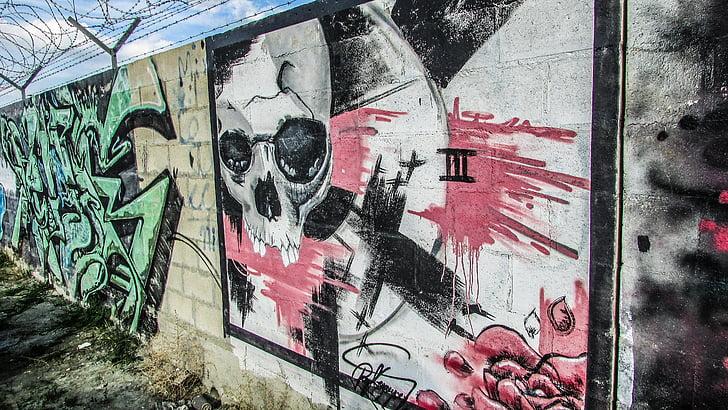graffiti, spray festék, városi, színes, város
