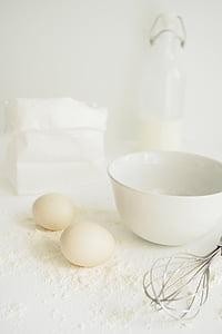 ou, farina, foodphotography, blanc sobre blanc, cuina, aliments, cuina