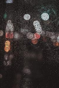 pluja, fosc, nit, gotes, l'aigua, vidre, bokeh