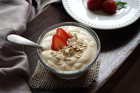 jogurts, augļi, vaniļa, zemenes, pārtika, veselīgi, uzturs