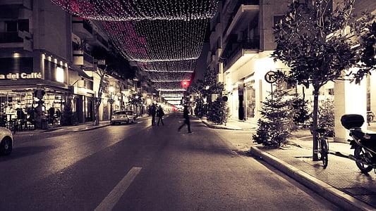 city, lights, christmas, street, urban Scene, night, city Life