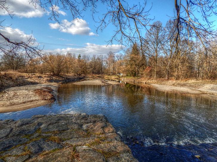 riu, resclosa, Banc, actual, l'aigua, arbres, Conca del riu