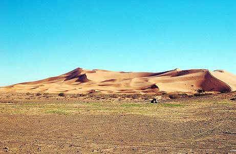 Maroko, Afrika, poušť, snowboardista, sport, písek, duny, krajina