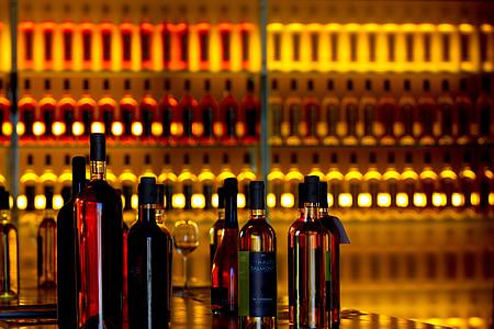 vins, ampolles, taronja, beguda, l'alcohol, botiga de vins, vi negre