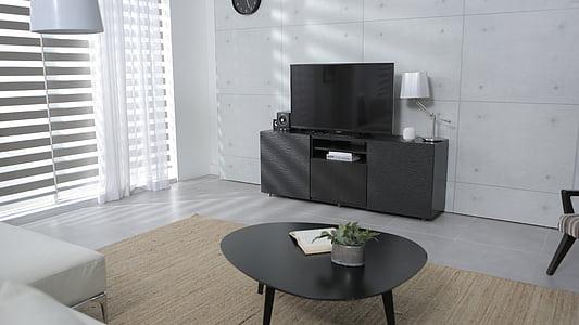 sala d'estar, TV, taula, un calaix, casa, cortina, finestra
