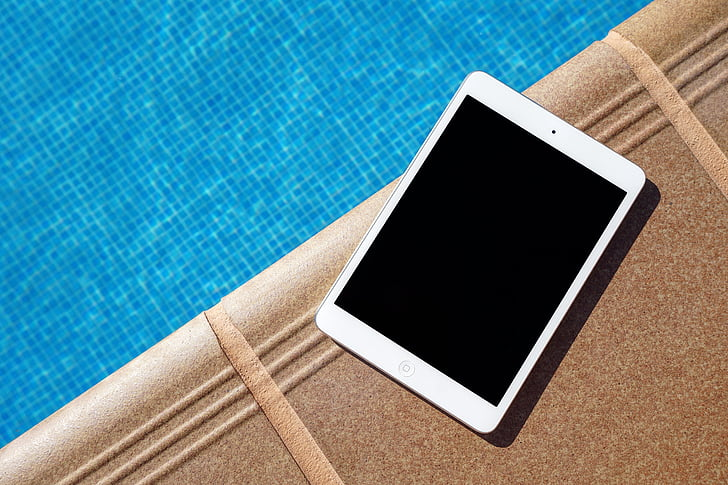 apple, ipad, pool, screen, swimming pool, tablet