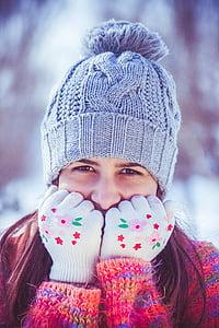 girl, beauty, portrait, winter, smile, snowflakes, cold temperature