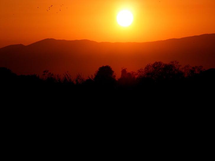 solnedgång, solen, Mountain, Sky, röd, Orange, eld