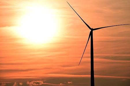 posta de sol, molinet de vent, energia eòlica, energia eòlica, núvols, cel de nit, abendstimmung
