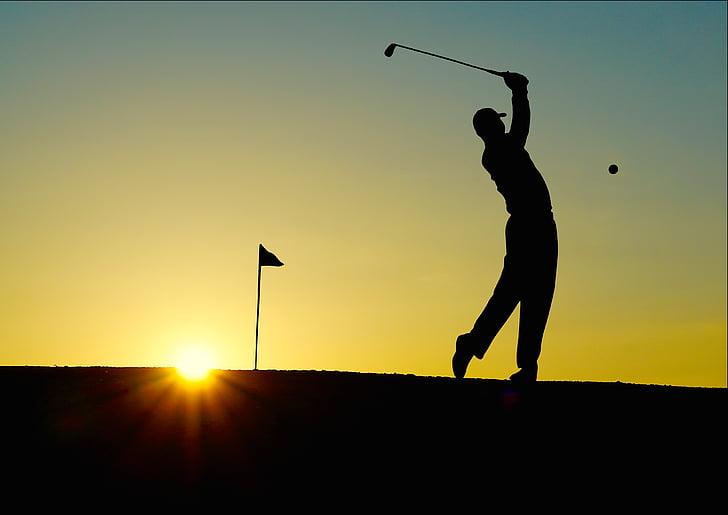 men, s, playing, golf, sunset, sport, Silhouette